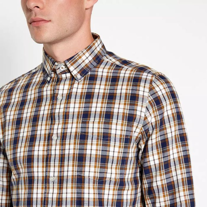 Cheap Men's Maine New England Mustard Checked Shirt - Save £4.8!