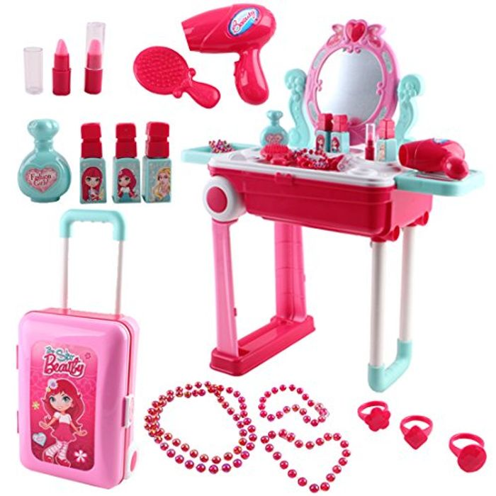 Portable Vanity Dressing Table and Suitcase Role Play Set with Accessories