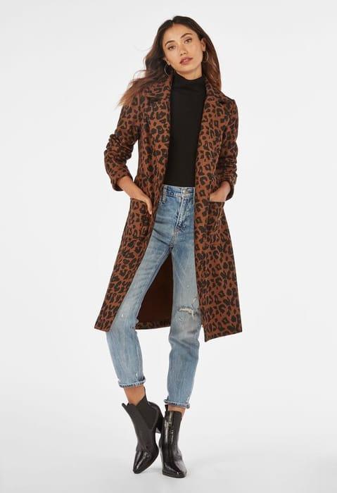 Animal Double Knit Wool Coat Justfab
