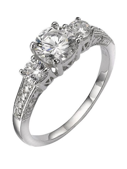Love Silver Collection Sterling Silver White Cubic Zirconia Trilogy Dress Ring