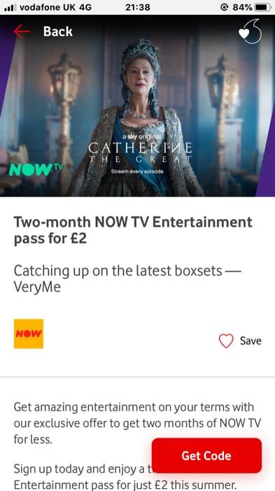 2 Months Now Tv Entertainment Pass £2 on Vodaphone Rewards