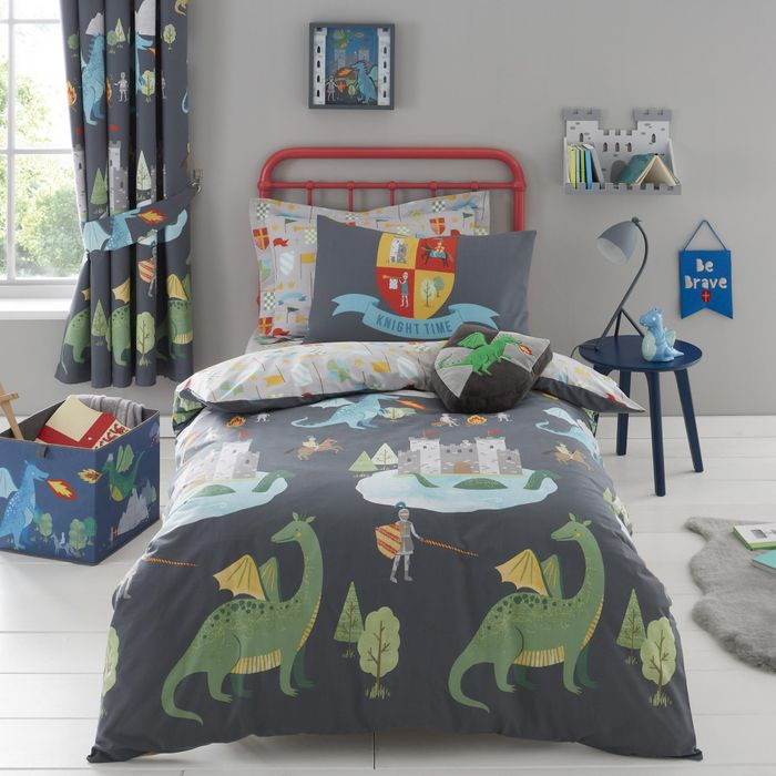 Knights and Dragons Duvet Cover and Pillowcase Set