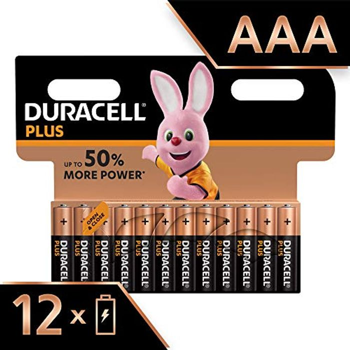 Duracell plus AAA Alkaline Batteries, 1.5 v LR03 MN2400, Pack of 12 - Save £4!