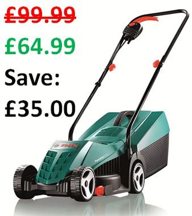 £35 OFF TODAY! Bosch Rotak 32R Electric Rotary Lawnmower (32 cm Cut)