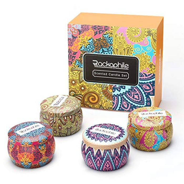 Rackaphile Scented Candle, Soy Travel Tin Candle Set of 4 - Save £4!