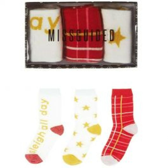 MISSGUIDED Christmas Gift Box Socks *ONLY £3