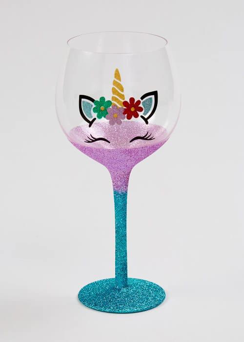Glitter Unicorn Wine Glass