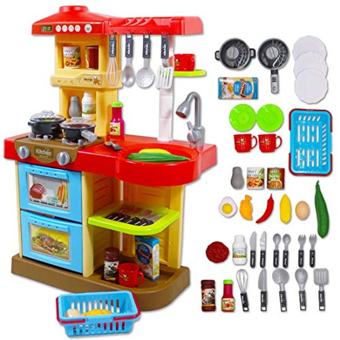 deAO Toddler Kitchen Playset My Little Chef with 30 Accessories