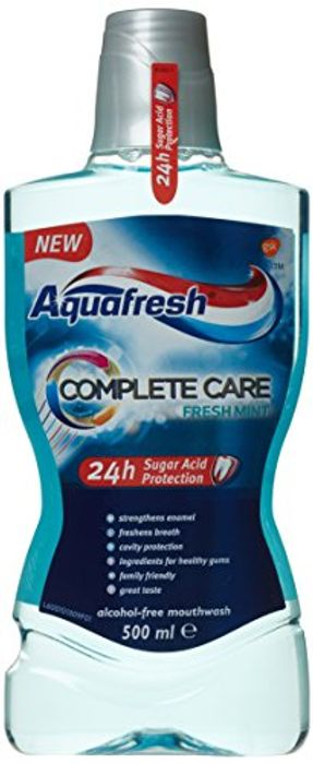 Aquafresh Mouthwash with Fluoride, Fresh Mint, Complete Care, 500 Ml (Add-On)