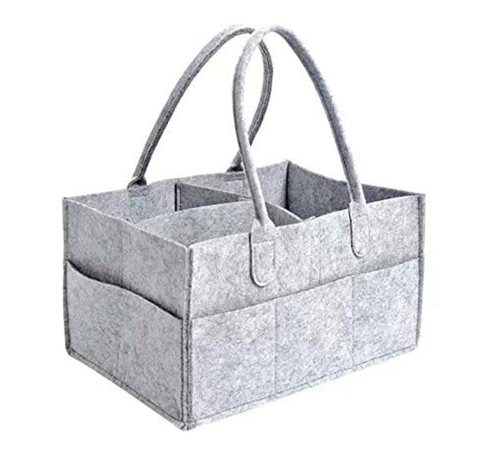 Baby Diaper Caddy Organizer, Foldable Felt Storage Bag Portable