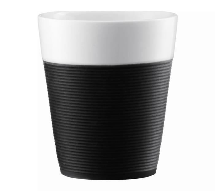 BODUM Bistro Porcelain Mug with Silicone Band - Black, Pack of 2
