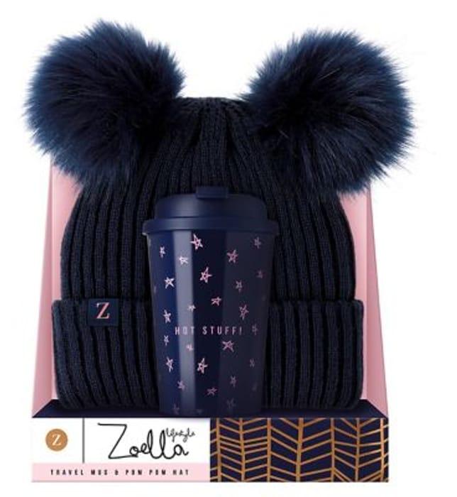 Zoella Lifestyle Travel Mug & Pom Pom Hat