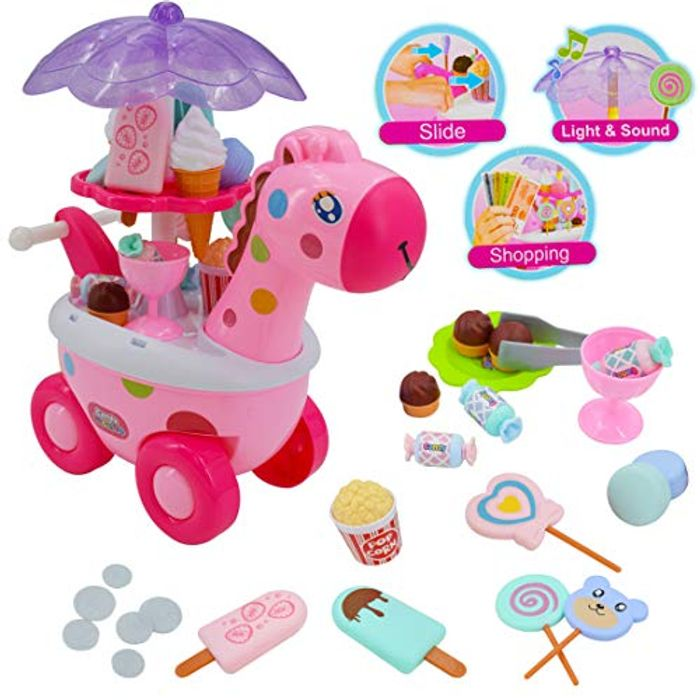 Sweet Shop Candy and Ice Cream Cart Play Set