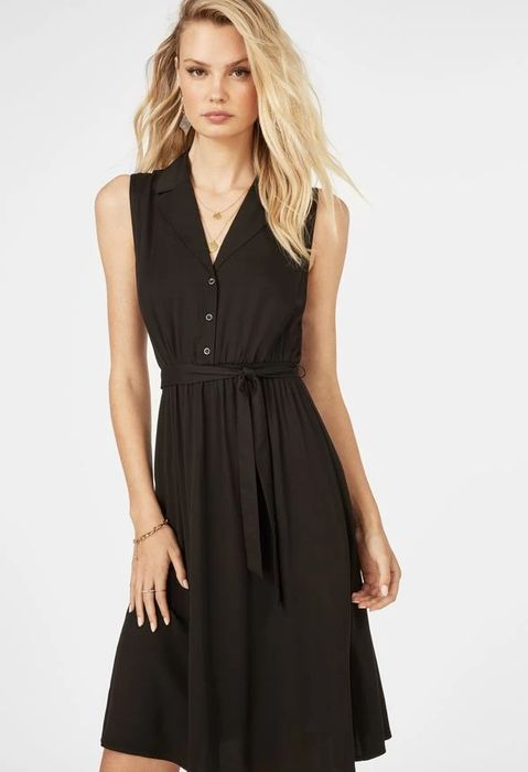 Sleeveless Button Front Dress at Justfab