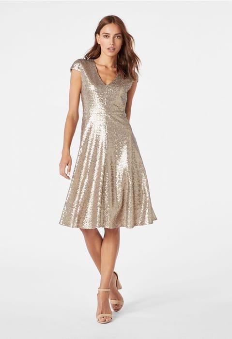 V-Sequin Dress at Justfab