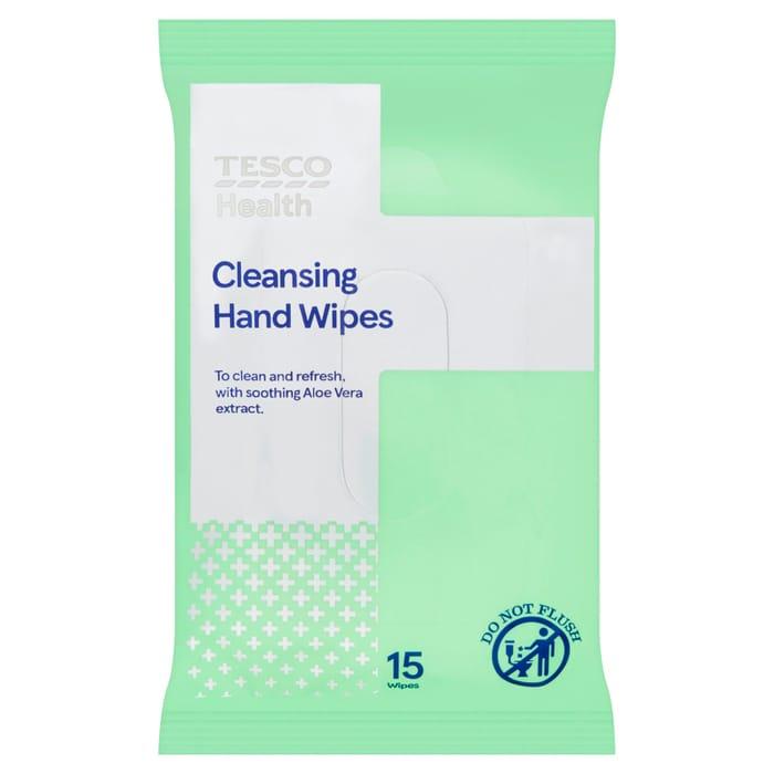 Cheap Tesco Health Cleansing Hand Wipes 15pk - Save £0.38!