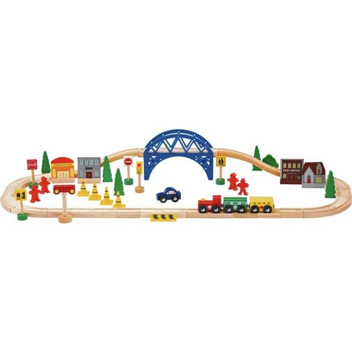 Chad Valley Wooden Train Set - 60 Piece