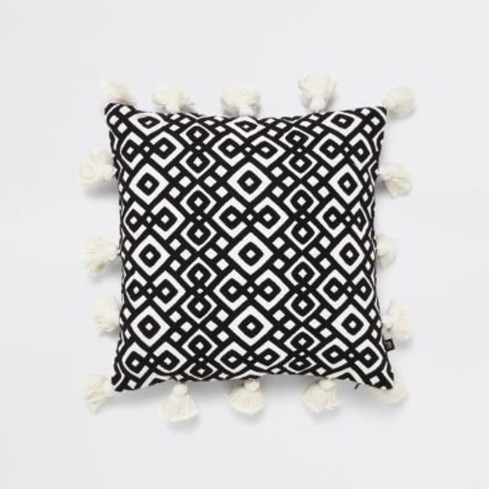 Cheap Black Diamond Embroidery Tassel Cushion, reduced by £17!
