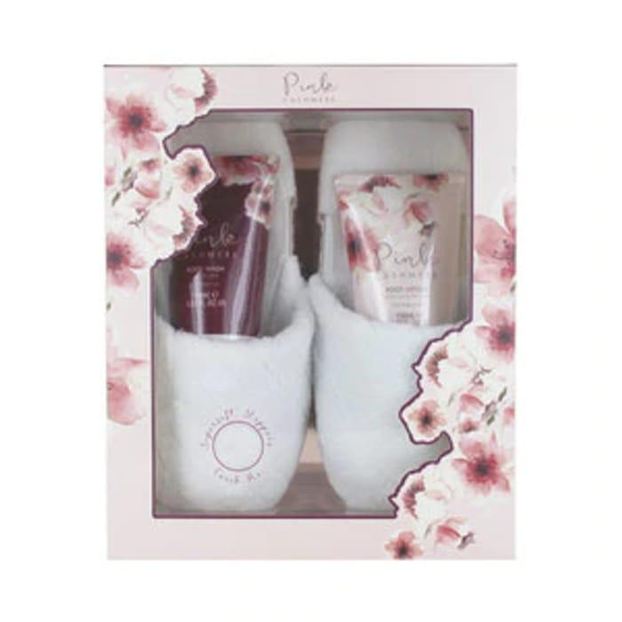 Pink Cashmere Slipper Gift Set