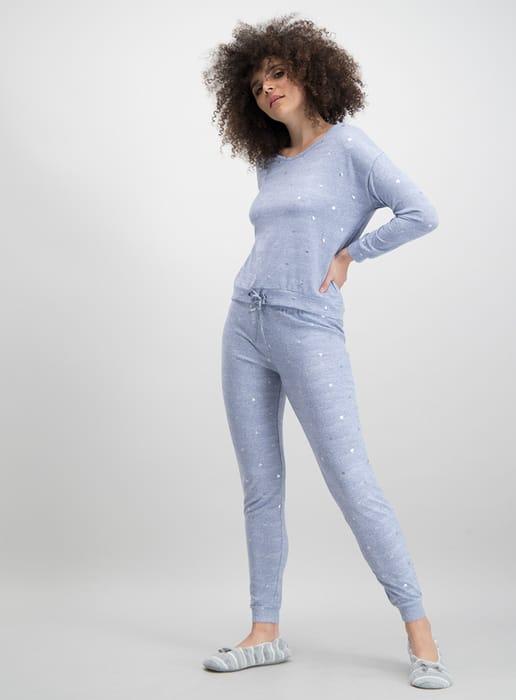 Half Price Blue Heart Print Ladies Pyjamas at Sainsbury's
