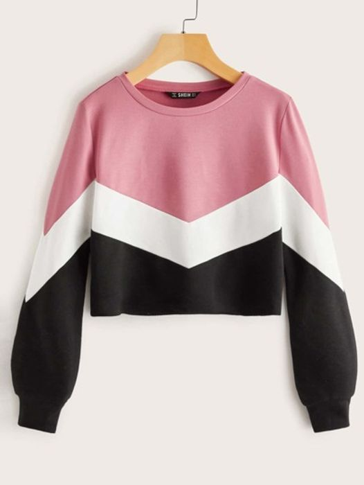 SHEIN Cut-and-Sew Chevron Pullover
