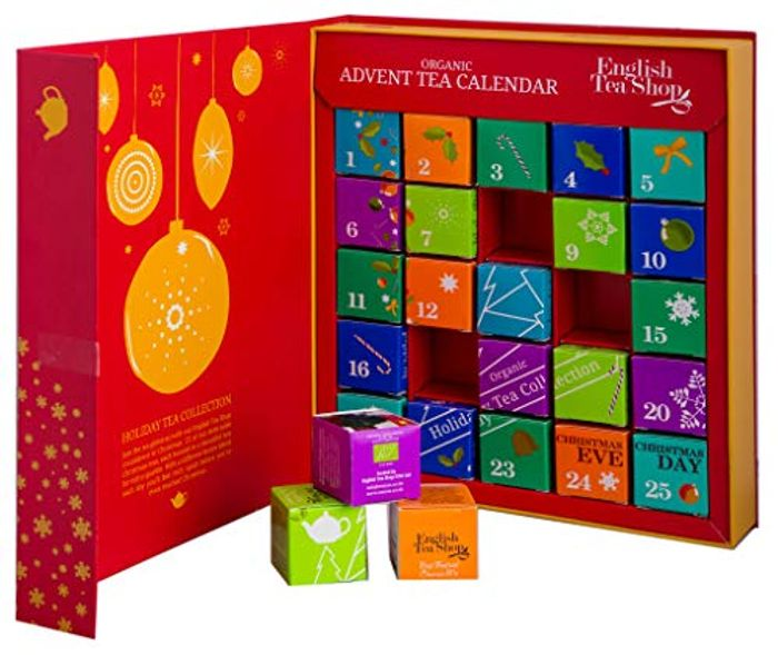 English Tea Shop Organic Book Style Red Advent Calendar 25 Pyramid Tea Bags
