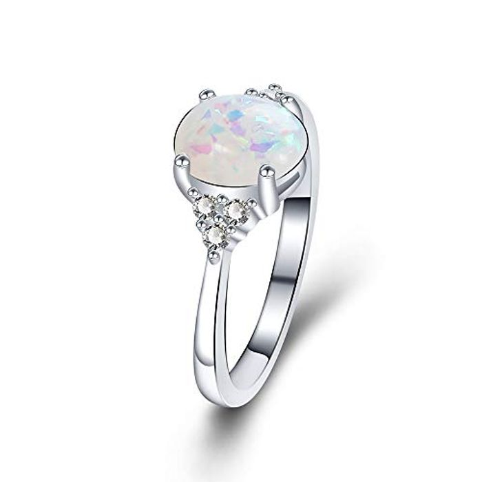 Best Price! Platinum Plated Ring Opal Cubic Zirconia Wedding Engagement Ring