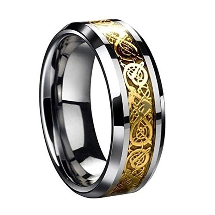 Men's Gold Dragon Scale Dragon Pattern Beveled Edges Celtic Ring