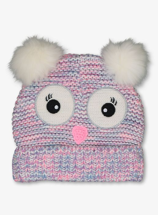 Multicoloured Knitted Owl Beanie Hat