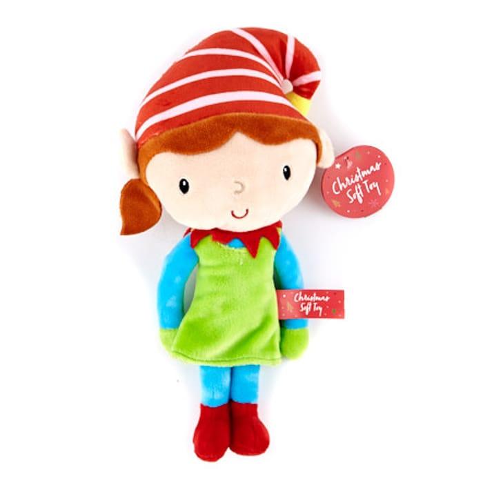 Christmas Elf Soft Toy - Girl (Brunette)