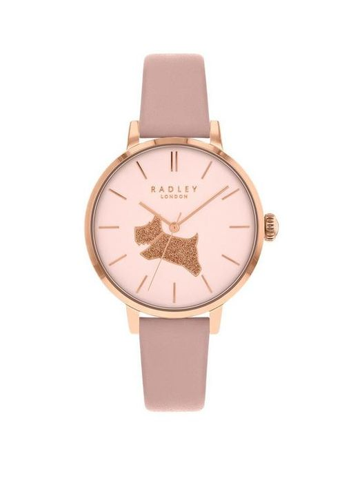 *SAVE £46* Radley Champagne & Gold Glitter Dog Dial Leather Strap Ladies Watch