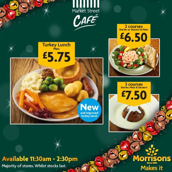 3 Course Christmas Lunch for £7.50 at Morrison's Cafe