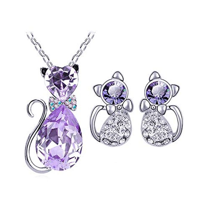 Fliyeong Premium Quality Jewellery Necklace Earring Cat Pendant FREE DELIVERY