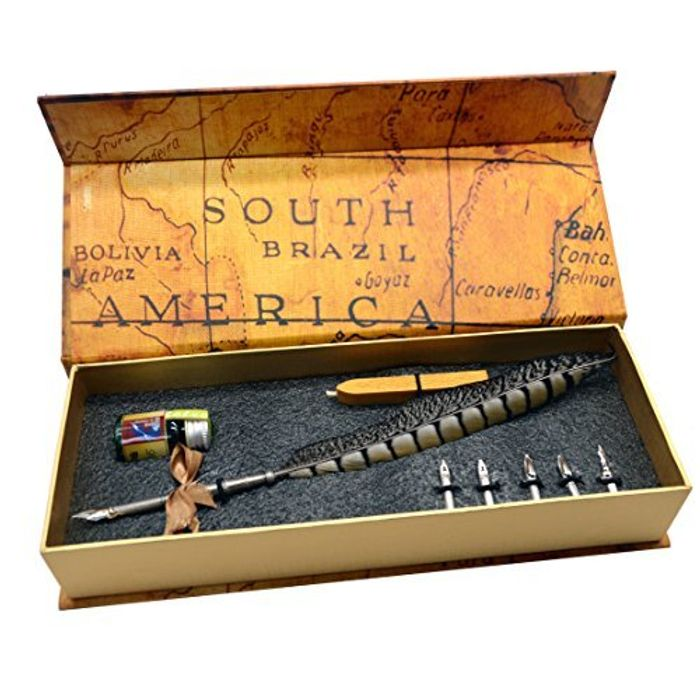 Fountain Pen with Map Theme Gift Box, Feather and Spare Nibs