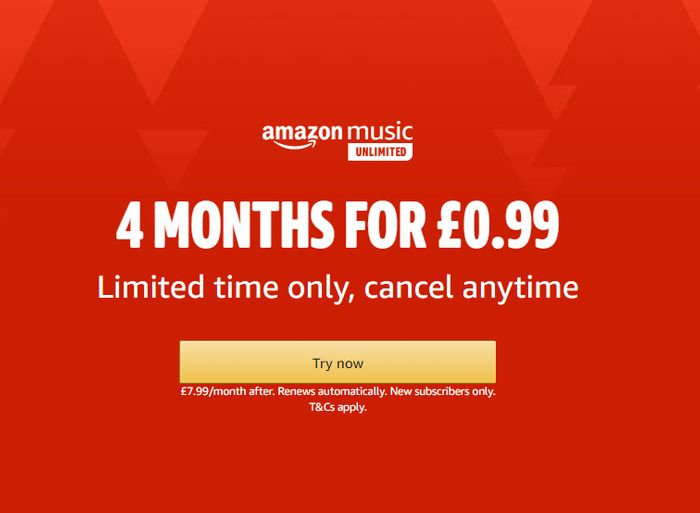 Special Offer - 4 Months Amazon Music Unlimited for Just 99p