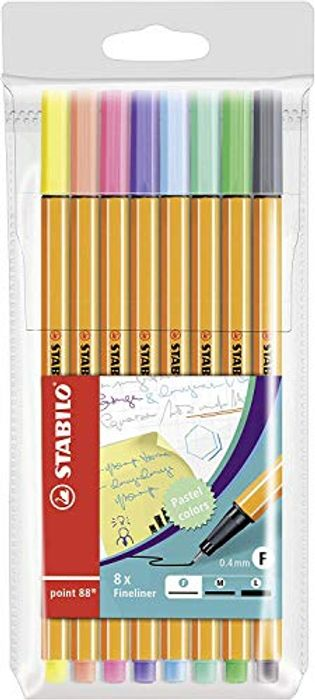 Fineliner - STABILO Point 88 Wallet of 8 Assorted Pastel Shades