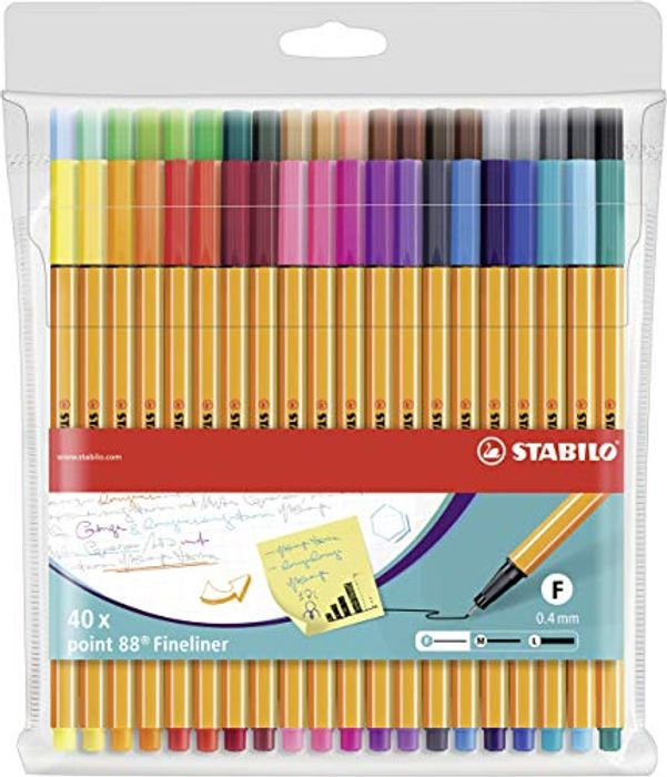 Fineliner - STABILO Point 88 Wallet of 40 Assorted Colours