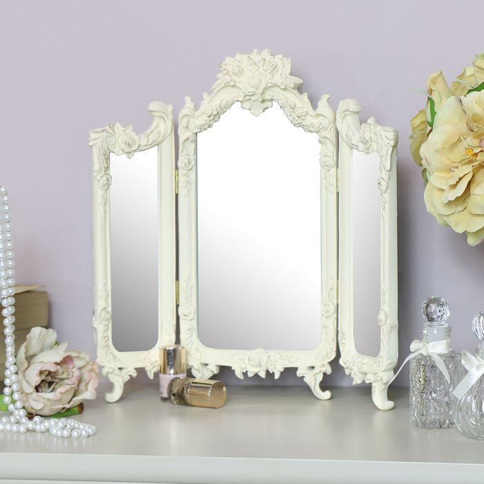 Small Ornate Rose Triple Mirror