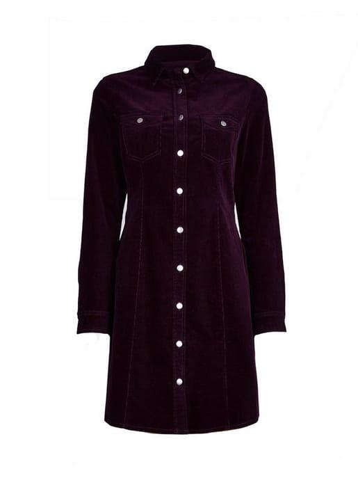 Purple Corduroy Shirt Dress Down From £32 to £22.4