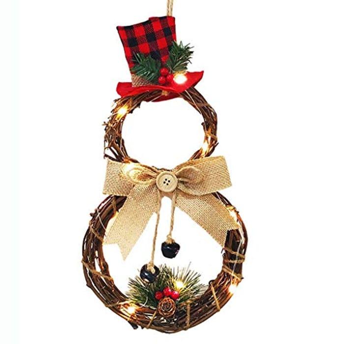 Christmas Wreath Snowman Garland