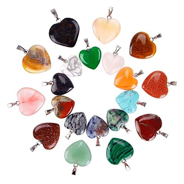 20 X Heart Stone Pendants FREE DELIVERY
