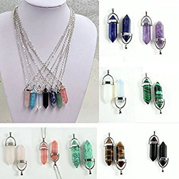 9 PCS Crystal Hexagonal Point Pendants FREE DELIVERY