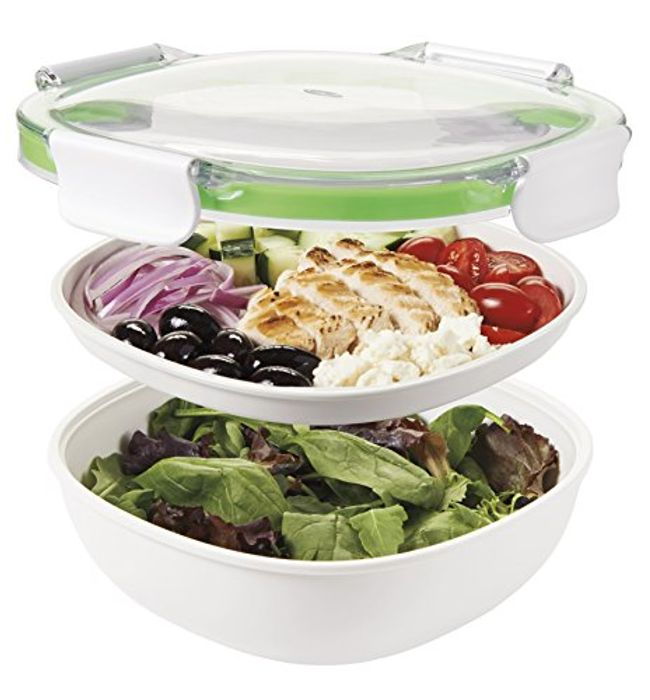OXO Salad Container, White/Green, 1.25 Litre