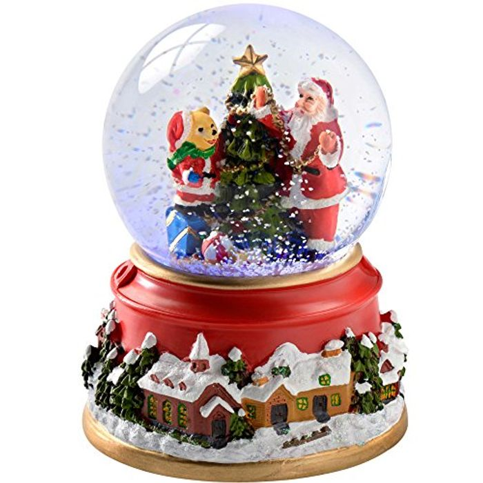WeRChristmas Santa and Bear Colour Changing Snow Globe, 12.5 Cm - Multi-Colour