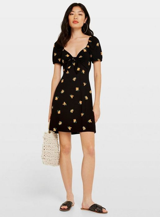 Black Floral Print Milkmaid Tea Dress