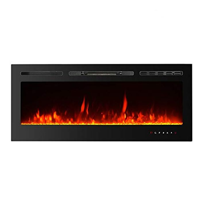 50% off Electric Fireplace with 6 Levels Flame, Touch Screen Glass View