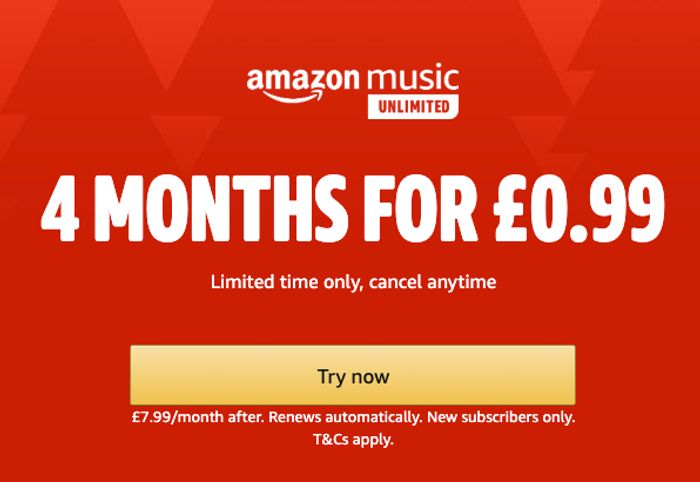 Special Offer - 4 Months of Amazon Music Unlimited 99p at Amazon