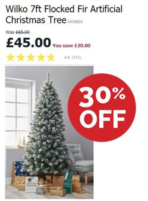 £20 OFF TODAY! Wilko 7ft Flocked Fir Artificial Christmas Tree *4.8 STARS*
