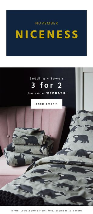 3 for 2 Bedding and Towels This Month