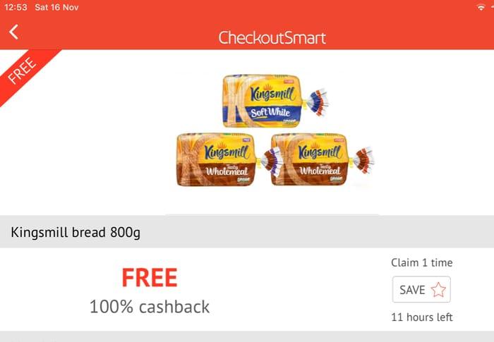 Kingsmill Loaf Free with Cashback